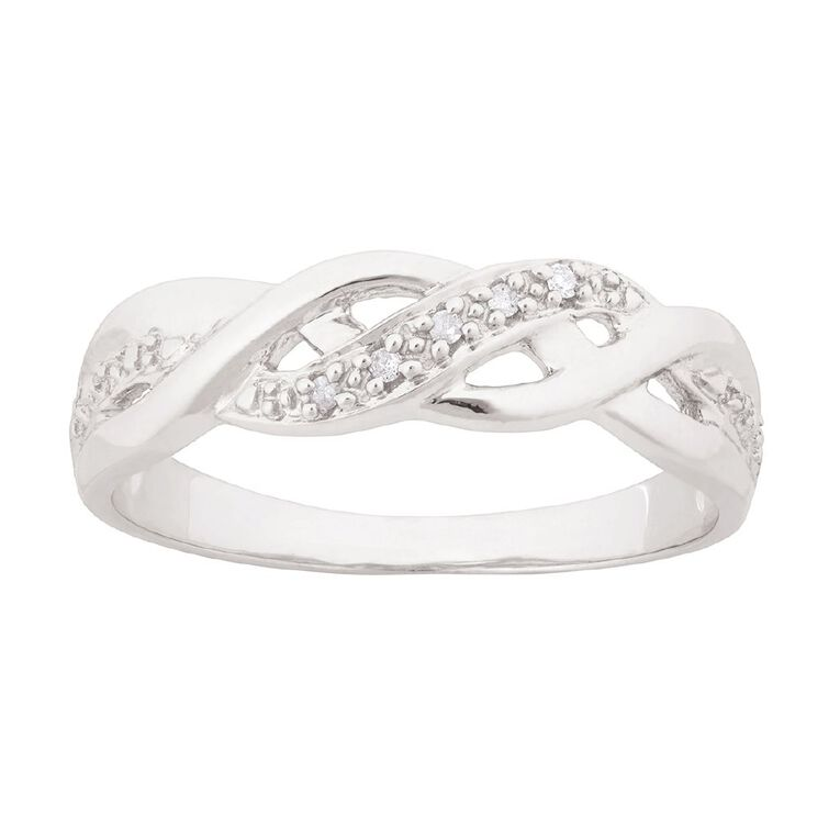 Sterling Silver Diamond Fancy Wave Ring, Sterling Silver, hi-res