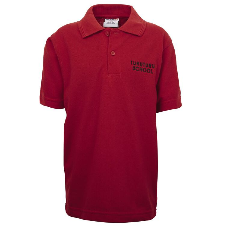 Schooltex Turuturu School Polo with Embroidery, Red, hi-res