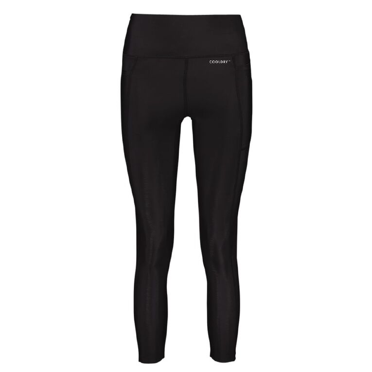 Active Intent Women's Pocket Plain Crop Leggings, Black, hi-res