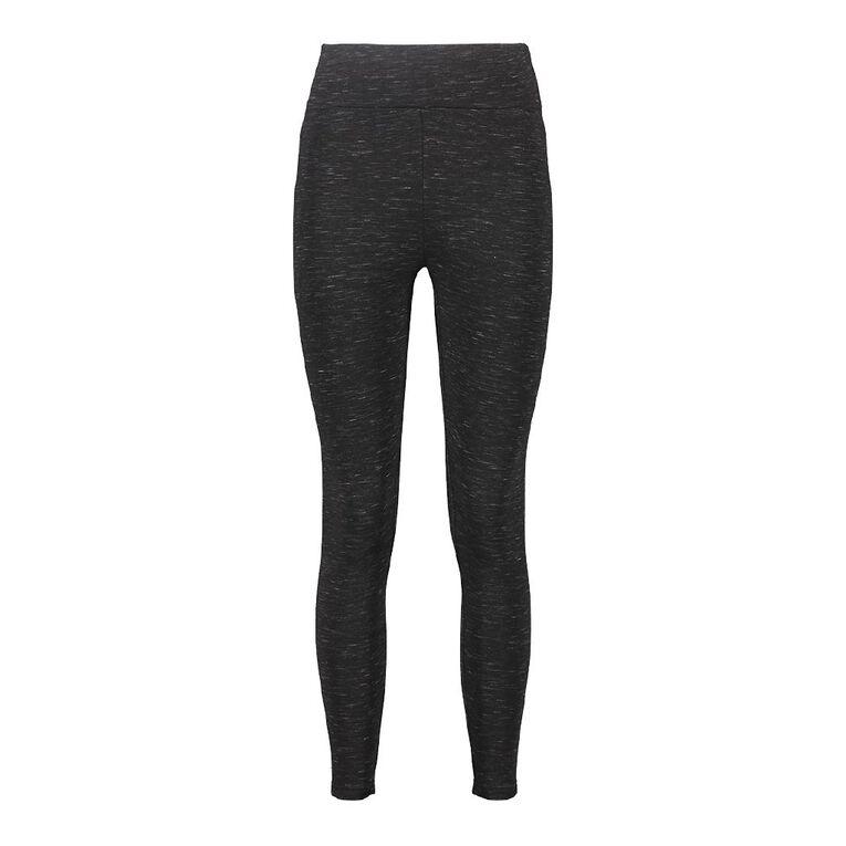 H&H Women's Brushed Leggings, Black SPACEDYE, hi-res