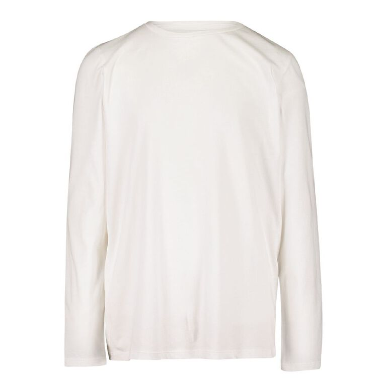 Young Original Plain Long Sleeve Tee, White, hi-res image number null