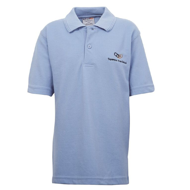 Schooltex Tapawera Short Sleeve Polo with Embroidery, Sky Blue, hi-res