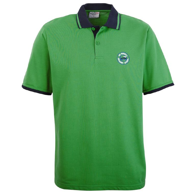 Schooltex Mt Roskill Primary Short Sleeve Polo with Embroidery, Emerald, hi-res