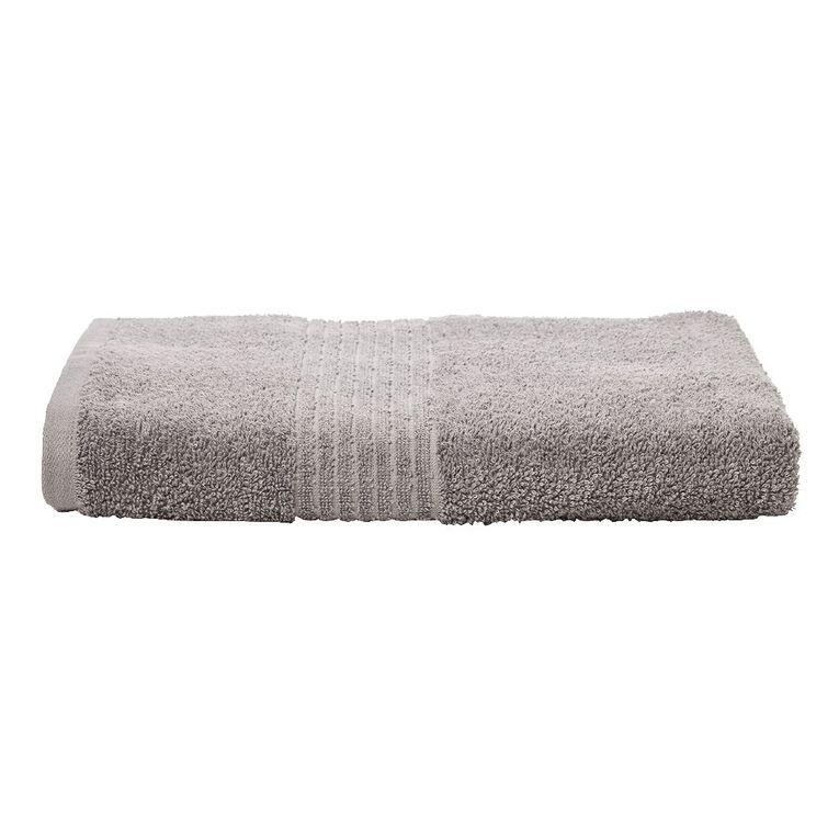Living & Co Manhattan Bath Towel Alloy Grey 135cm x 65cm, Grey, hi-res
