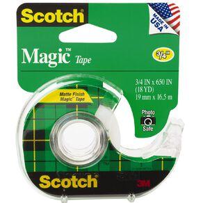 Scotch Magic Tape 122 In Dispenser 19mm x 16.5m Clear