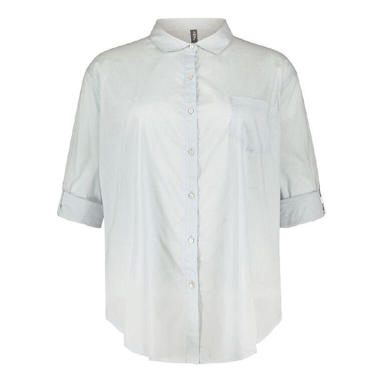 H&H Plus Women's Cotton Voile Shirt, Blue Light, hi-res