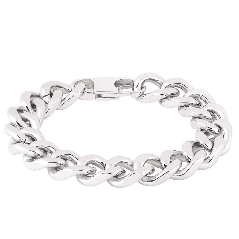 Stainless Steel Chunky Curb Bracelet 20cm, , hi-res