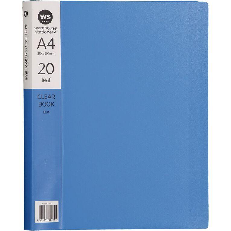 WS Clear Book 20 Leaf Blue A4, , hi-res