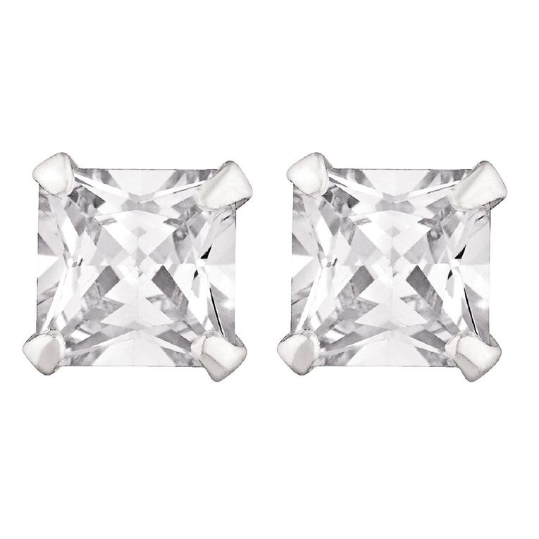 Sterling Silver CZ Square Earrings, , hi-res