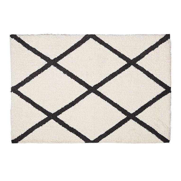 Living & Co Berber Scatter Rug White/Black 60cm x 90cm, White/Black, hi-res