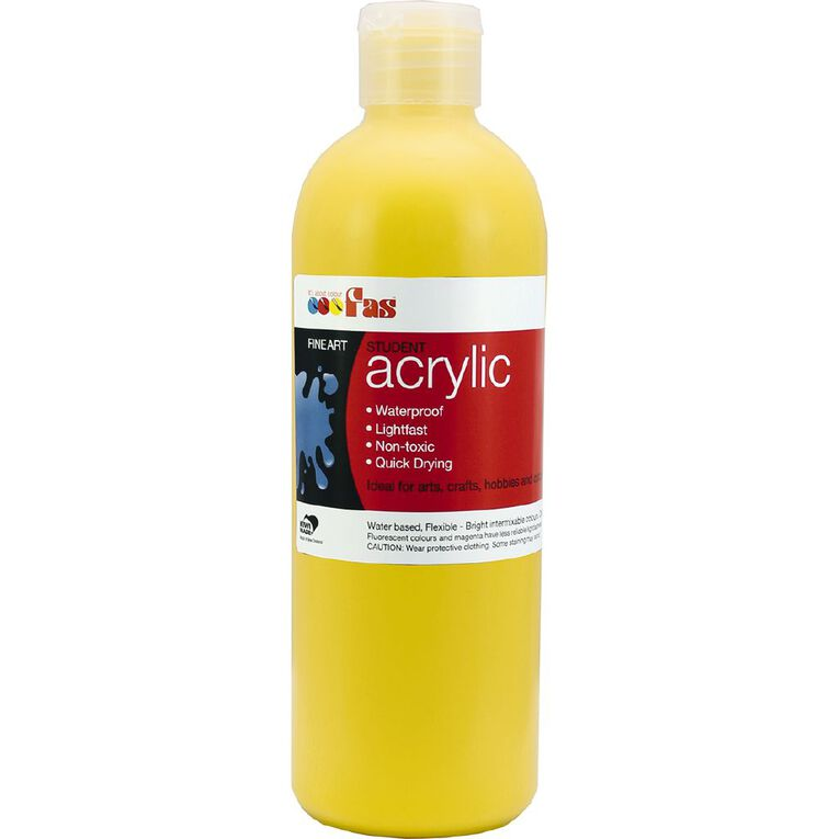 FAS Paint Student Acrylic Yellow 500ml, , hi-res