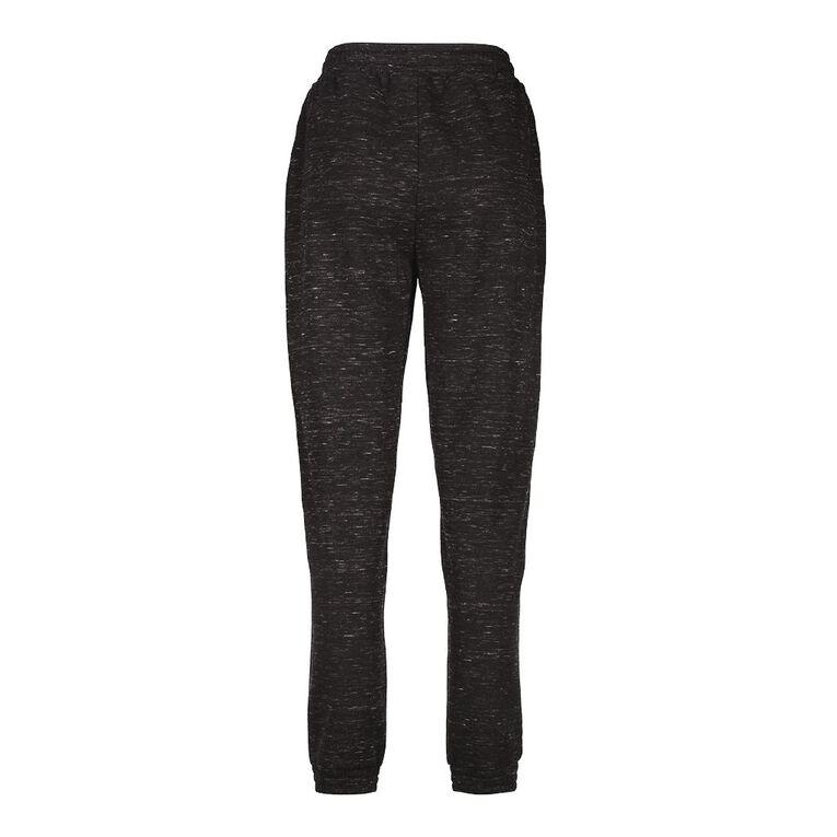 H&H Women's Elastic Fleece Trackpants, Black, hi-res