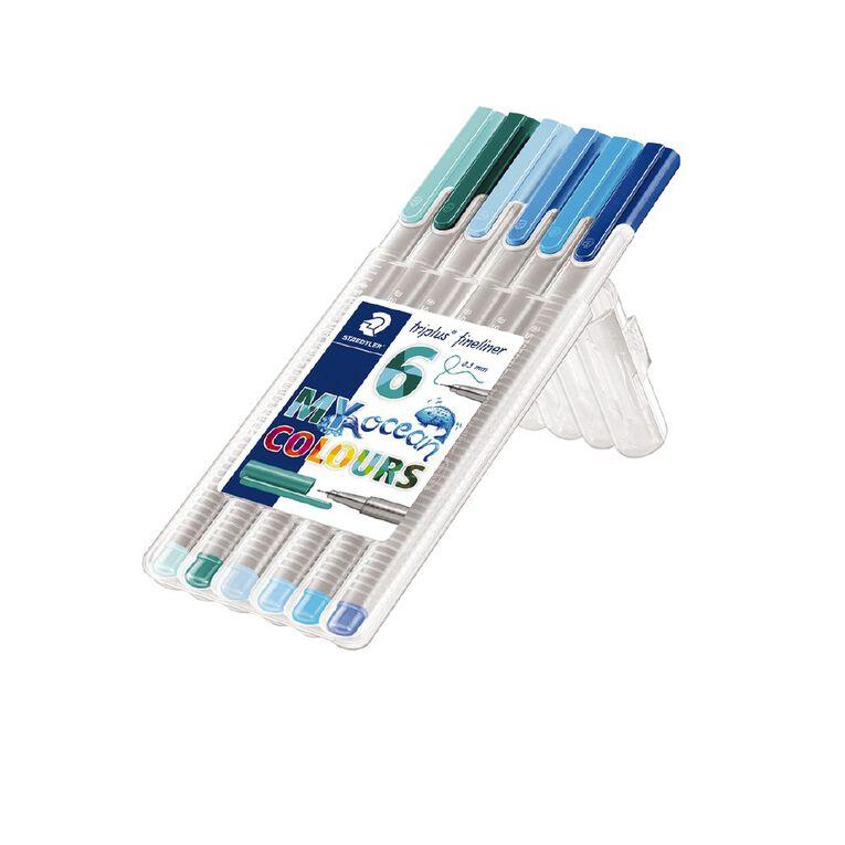 Staedtler Triplus Fineliner 0.3mm Wallet of 6 - Ocean Colours, , hi-res