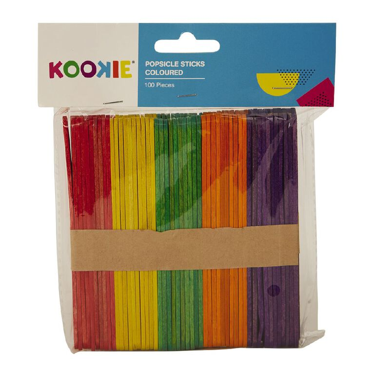 Kookie Pop Sticks Coloured Multi-Coloured 100 Pack, , hi-res