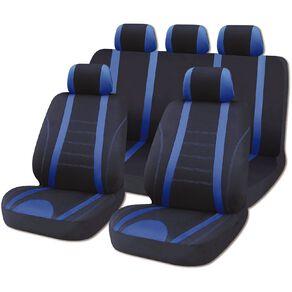 Mako Car Seat Cover Polyester Value Set Low Back 9 Piece Black/Blue