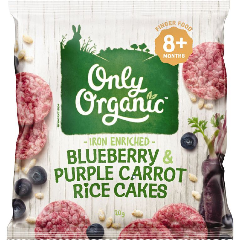 Only Organic Blueberry Rice Cakes 20g, , hi-res