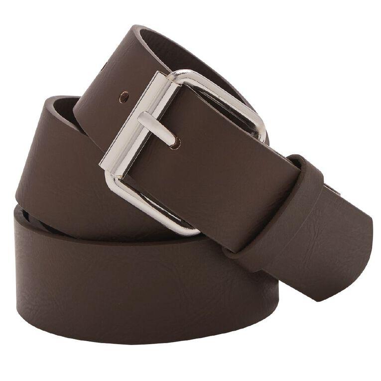 H&H Men's PU Belt, Brown, hi-res