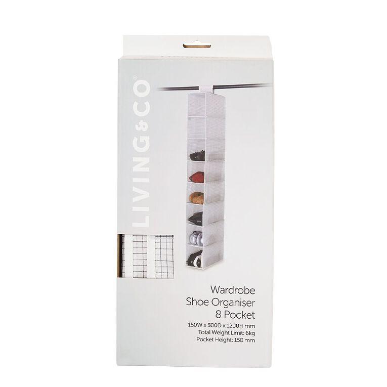Living & Co Wardrobe Shoe Organiser 8 Pocket White, , hi-res