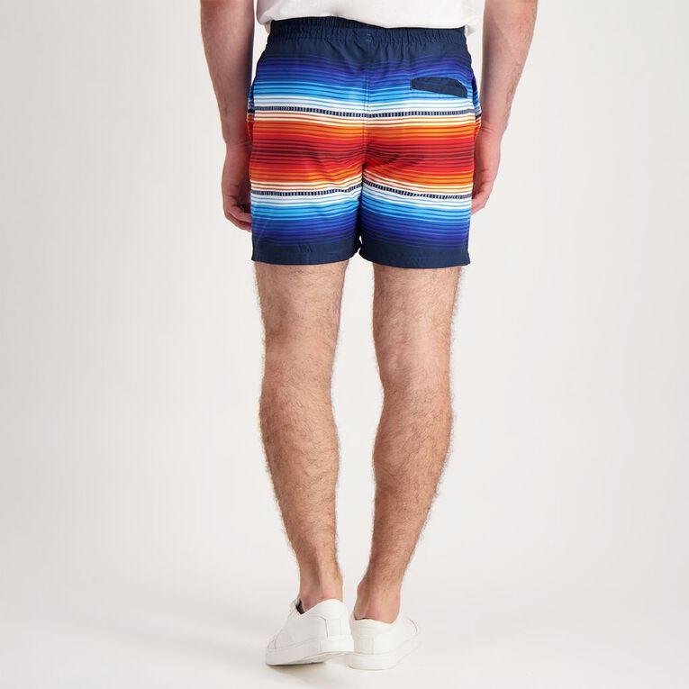 H&H Men's Elastic Waist All Over Print Boardshorts, Black, hi-res image number null