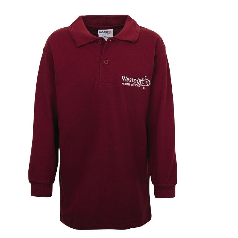 Schooltex Westport North Long Sleeve Polo with Embroidery, Burgundy, hi-res