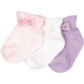 H&H Infants Girls' Party Socks 3 Pack