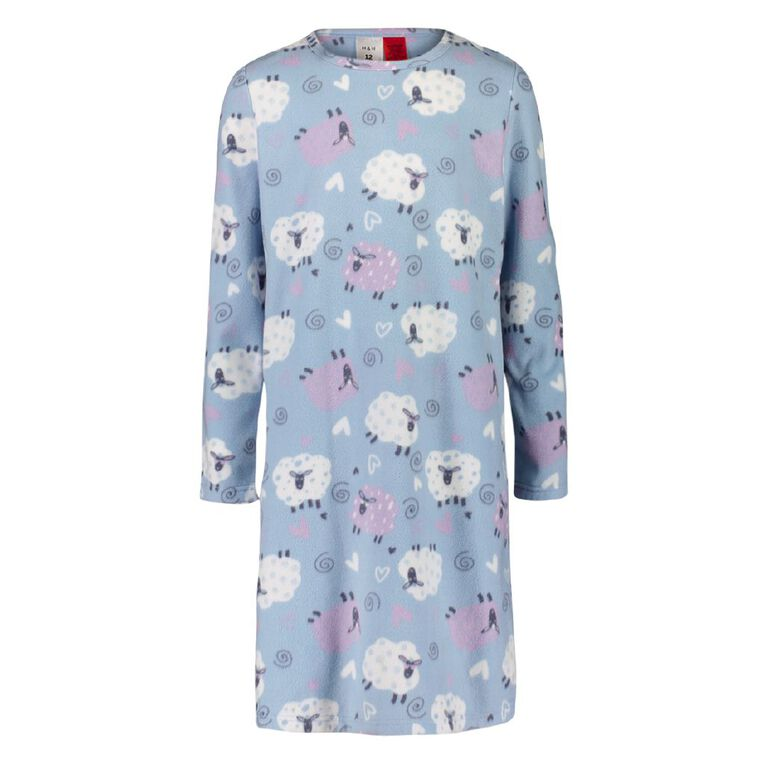 H&H Girls' Fleece Nightie, Blue, hi-res