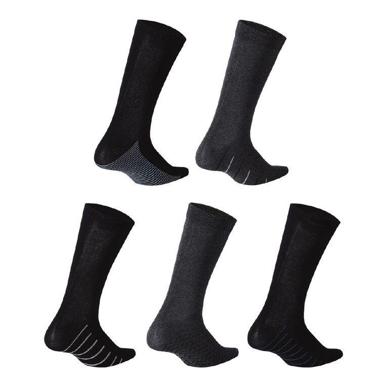 H&H Men's Sole Design Business Socks 5 Pack, Black/Grey, hi-res