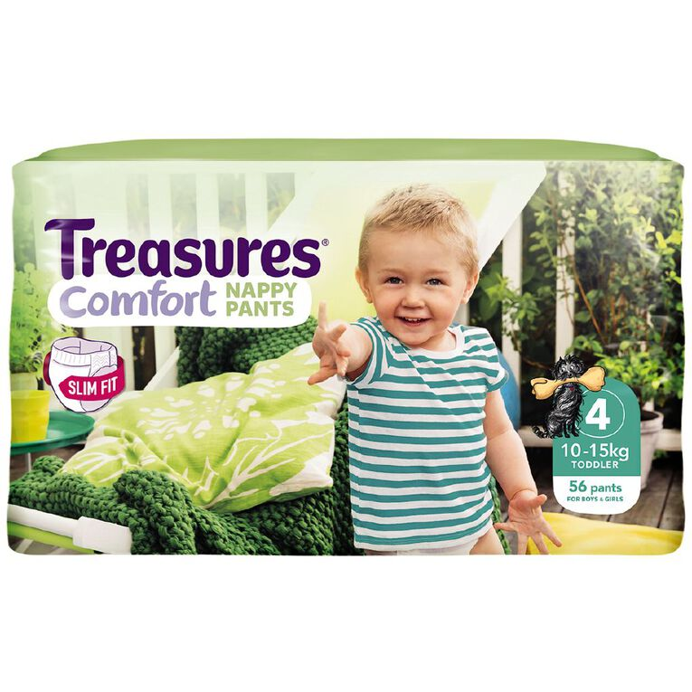 Treasures Jumbo Slimfit Toddler Nappy Pants 56 Pack, , hi-res