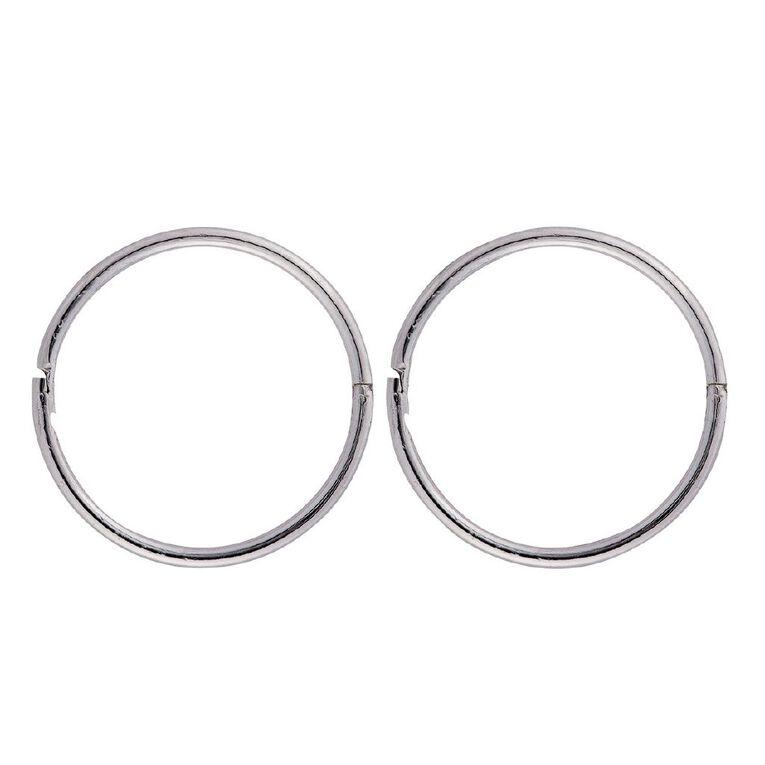 Sterling Silver Plain Sleeper Earrings 16mm, , hi-res