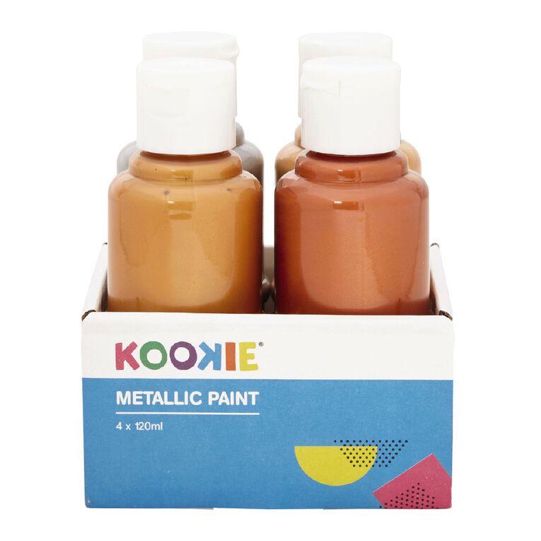 Kookie Acrylic Metallic Paint 120ml 4 Pack, , hi-res