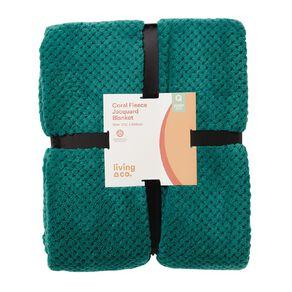 Living & Co Blanket Coral Fleece Jacquard Fanfare Green Queen