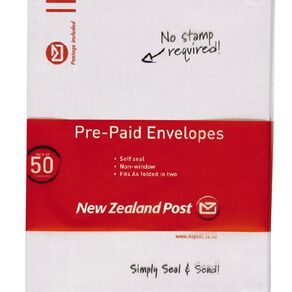 New Zealand Post C5 Envelope Prepaid Non Window 50 Pack