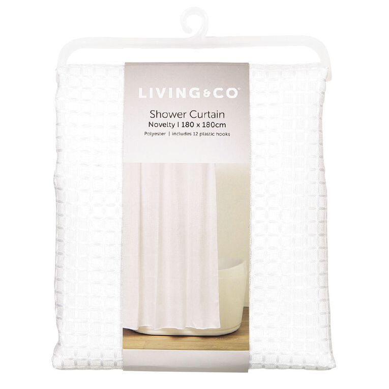 Living & Co Shower Curtain Woven Waffle White 180cm x 180cm, White, hi-res