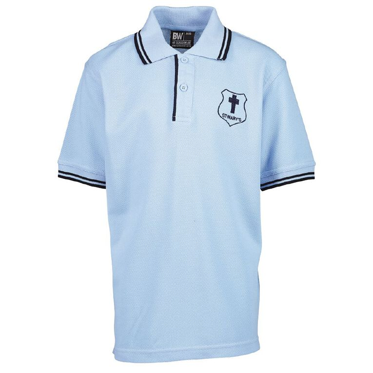 Schooltex St Mary's Hastings Short Sleeve Polo with Embroidery, Blue/Navy, hi-res