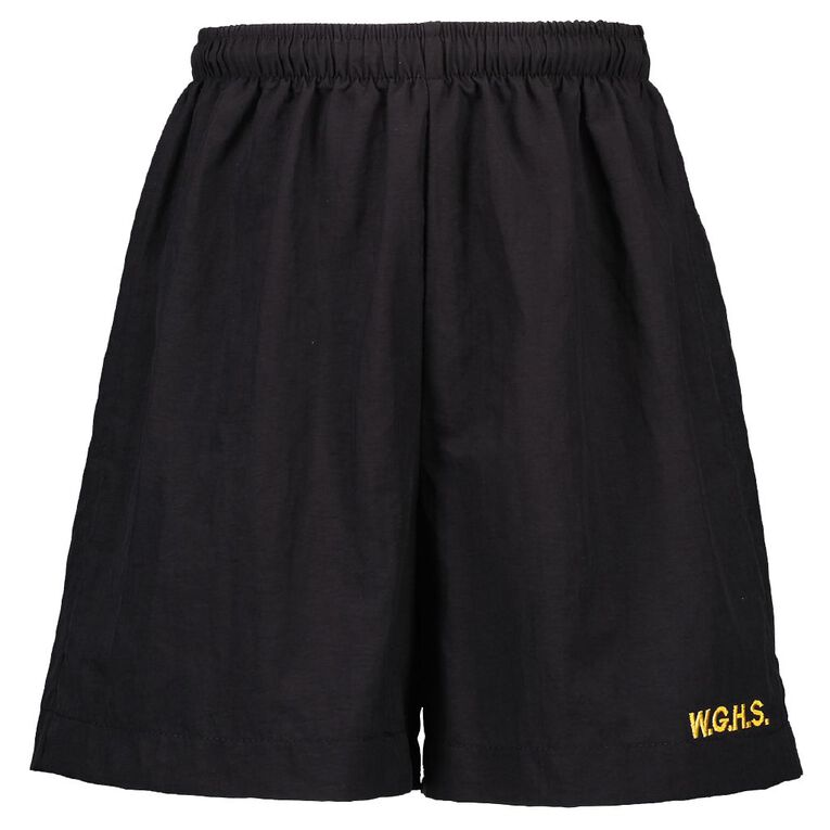 Schooltex Whangarei Girls' High PE Shorts with Embroidey, Black, hi-res