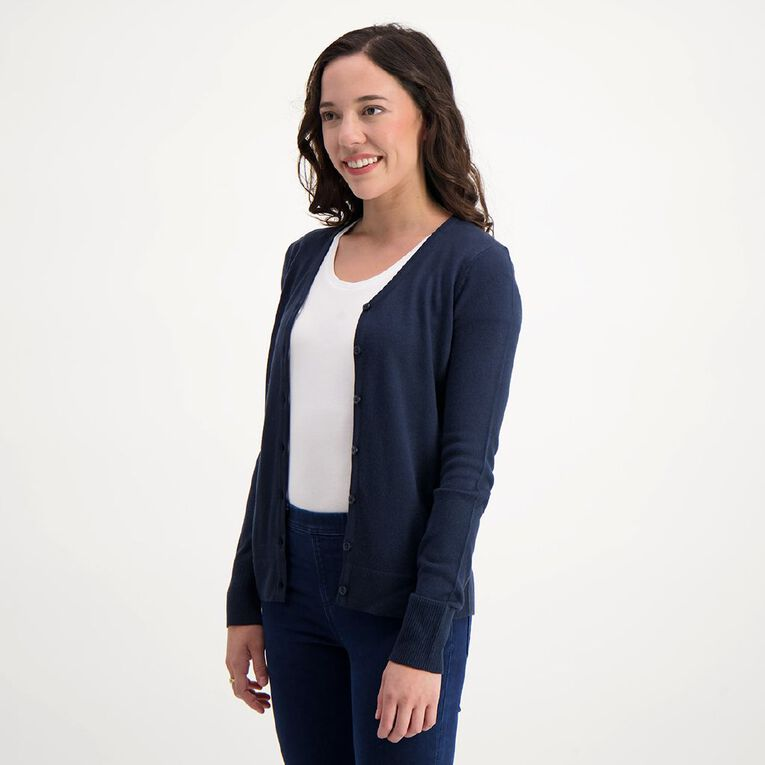 H&H Women's Button Through Cardigan, Navy, hi-res image number null