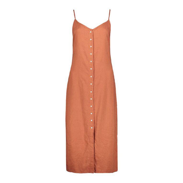 H&H Women's Linen Sleeveless Button Midi Dress, Red Dark, hi-res
