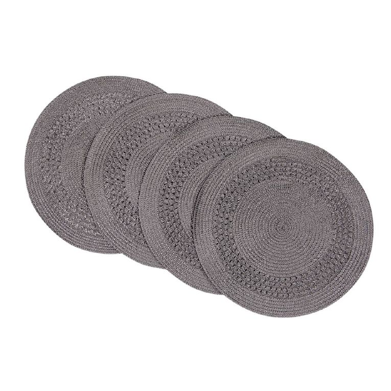 Living & Co Needle Out Woven Placemat Round Grey 4 Pack 33cm, , hi-res