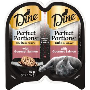Dine Perfect Portions Wet Cat Food In Gravy With Salmon  2 x 37.5g Trays