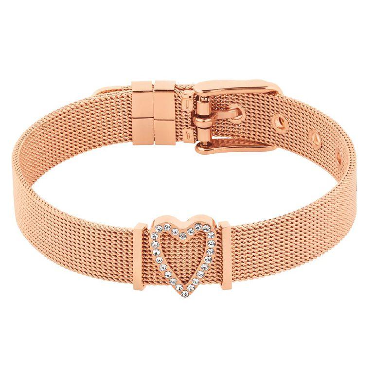 Stainless Steel Rose Gold Plated Crystal Mesh Charm Bracelet, , hi-res