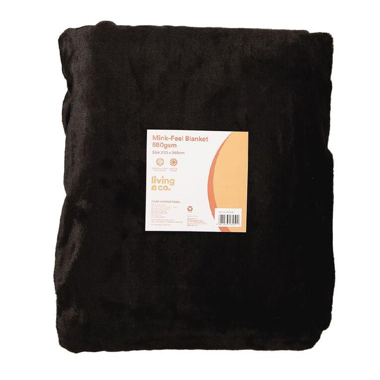 Living & Co Blanket Mink Feel 580gsm Black Queen, Black, hi-res