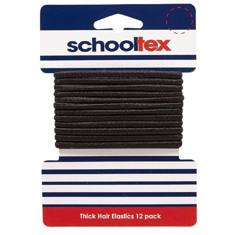 Schooltex Thick Snagless Elastics 12 Pack Black, , hi-res