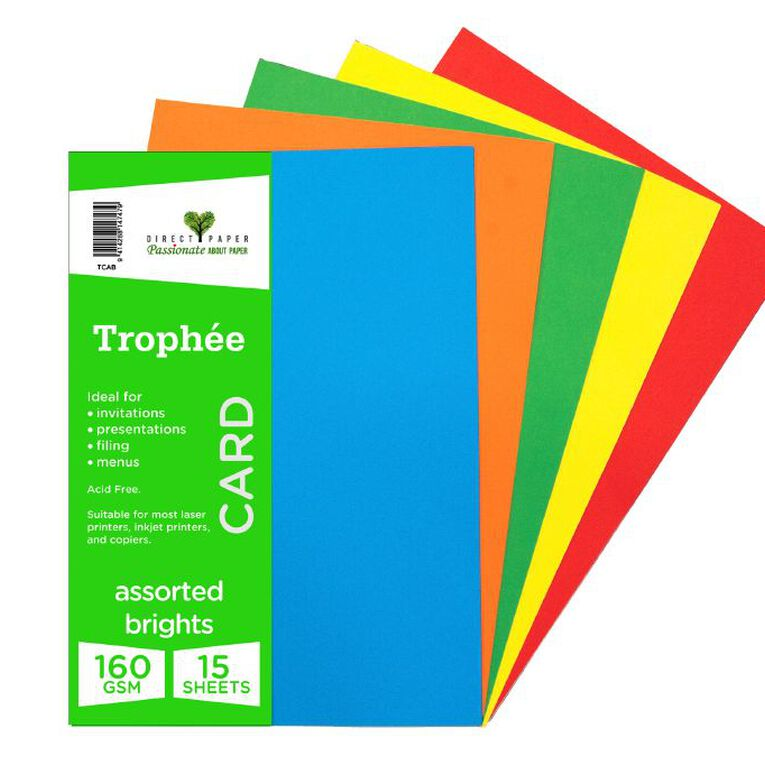 Trophee Card 160gsm 15 Pack Brights Assorted A4, , hi-res