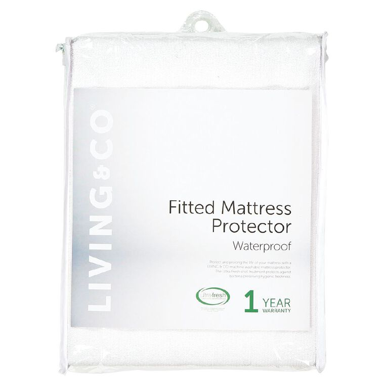 Living & Co Mattress Protector Waterproof White Single, White, hi-res