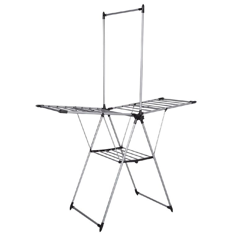 Living & Co Airer with Garment Rail Silver, , hi-res