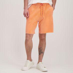 Garage Men's Elastic Waist Raw Hem Acid Shorts