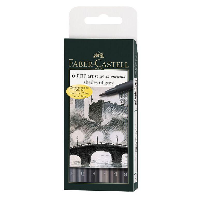 Faber-Castell Pitt Artist Brush Pens Grey 6 Pack, , hi-res