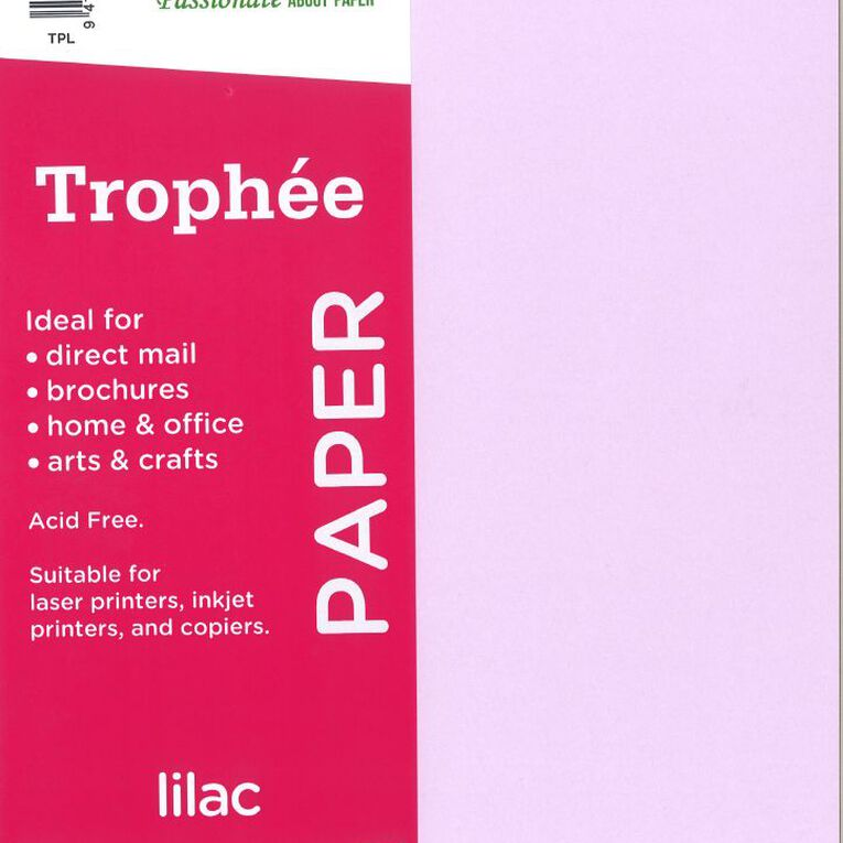Trophee Paper 80gsm 30 Pack Lilac Purple A4, , hi-res image number null