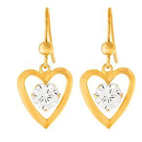 9ct Gold CZ Heart Drop Earrings