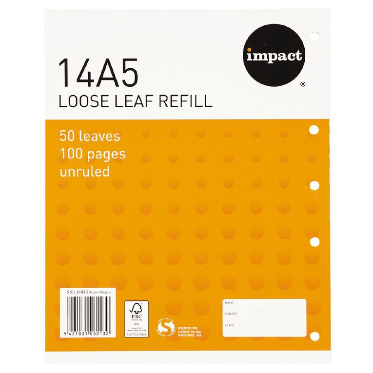 Impact Pad Refill 14A5 Blank 50 Leaf Punched Orange, , hi-res